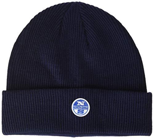NORTH SAILS Herren Beanie in Navy Blau Wolle Baumwollmischung Mit aufgedrehter Krempe und Appliziertem Logo-Patch auf Der Vorderseite - Eine Größe