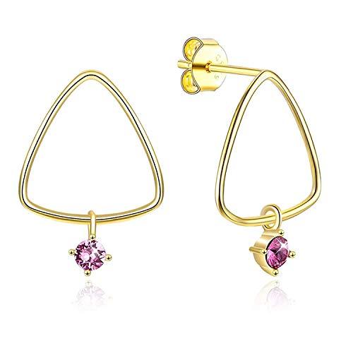 TIANYOU Joyas de novedad - Pendientes de plata esterlina para las mujeres Señoras Pendientes colgantes de cristal Triángulo de oro