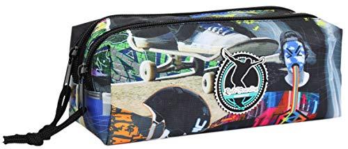 Unkeeper Skate 2 - Estuche Escolar Cuadrado, 2 Compartimentos y 2 Cremalleras, Tela Resistente y Lavable, Doble Cremallera. Dim: 21 x 8 x 8 cm (Opi Brands 63083)