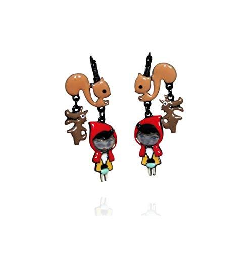 Lol Bijoux POpup-BijOux Earrings Wolf Design Red Riding Hood Squirrel
