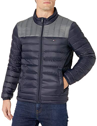 Tommy Hilfiger Men's Lightweight Water Resistant Packable Down Puffer Jacket (Standard and Big & Tall), Midnight Charcoal, Medium