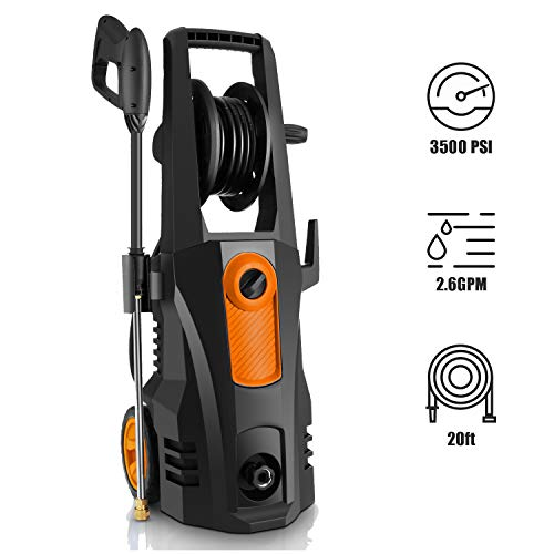 TEANDE 3500 PSI Electric Pressure Washer, 2.60 GPM 1800W Power Washer with Rolling Wheels (Orange)