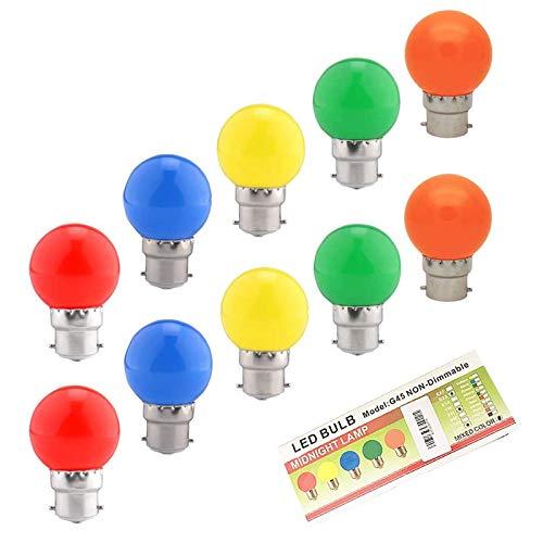 Huamu Ampoules baïonnette B22 - Paquet de 10 ampoule LED Feston 2 W (équivalent 20W), ampoule écoénergétique écoénergétique colorée Couleur, petites ampoules de Noël BC Cap