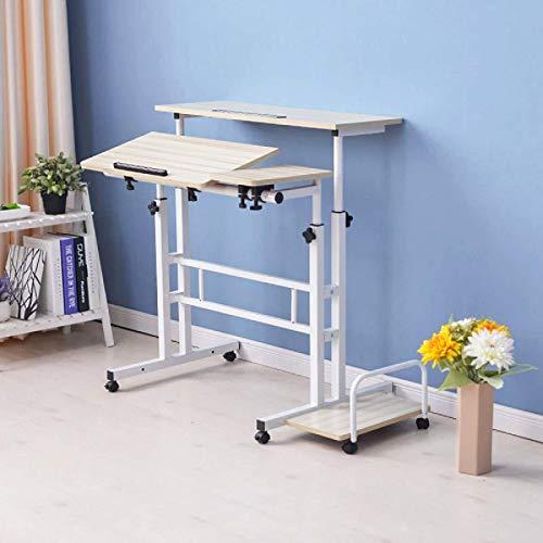 Escritorio de ordenador portátil con estante de altura ajustable mesa móvil de pie mesa de trabajo ideal para el hogar y la oficina