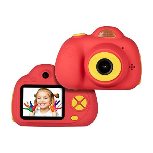 """Tyhbelle Digital Kamera für Kinder 2.0\"""" IPS-Bildschirm 8MP HD mit 2 Objektive für kleine Mädchen mit Aufklebern und USB Kabel (Rot)"""