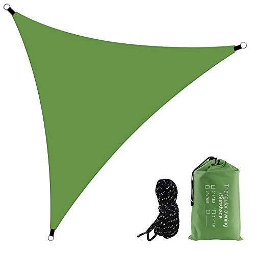 YHD Ombrellone triangolare, parasole triangolare, parasole, parasole, parasole, parasole, parasole, protezione efficace da sole e pioggia, adatto per terrazze, cortili, prato, 4 x 4 x 4 cm (verde)