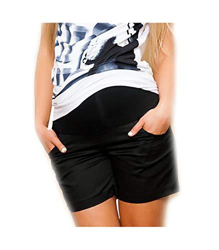Nitis Umstandsmode Kurze Hose Umstandsshorts Umstandshose mit Bauchband für Sommer Farbe: schwarz Gr. XS