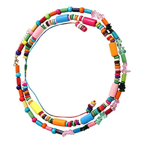 Desconocido Generic 2 Piezas Collares de Cuentas Boho Multicolor Cuentas de Madera Collar Capas Mujeres Joyería de Moda