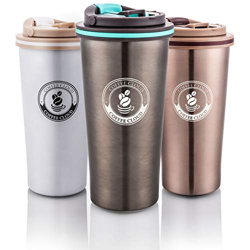 Coffee Cloud Edelstahl Kaffeebecher 500ml | Doppelwandig vakuumisolierter Travel Mug | Thermobecher aus Edelstahl | Isolierbecher BPA Frei, Leicht & Auslaufsicher (Anthrazit)