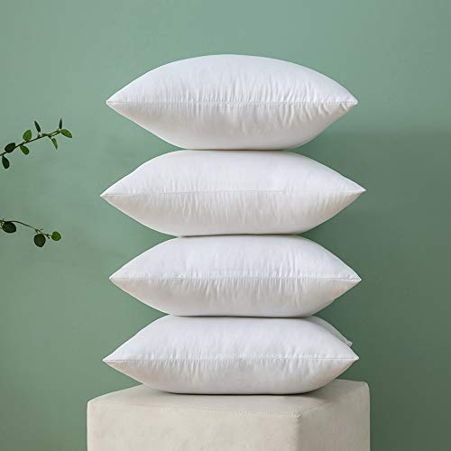 MIULEE A Set of 4 Pieces Very Warm and Soft fluffy Plump White Cushion Inner for Decorative Cushion Cover in Bed Sofa Outdoor pillow Inner 18x18inch Polyester Cotton