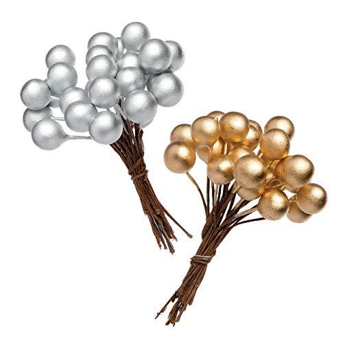 Baker Ross Bacche Artificiali Oro e Argento (confezione da 100) perfette per artigianato e attività natalizie e decorazioni, ideali per la scuola, la casa, gruppi e altri