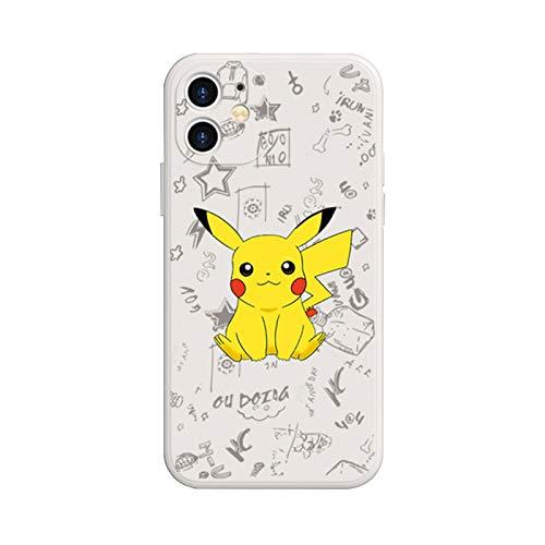 YFC Carcasa de telefono Pikachu Funda de Silicona líquida para iPhone 12, Funda Protectora Suave, Impermeable a Prueba de Golpes (Color : White-5, Size : For iPhone 11)