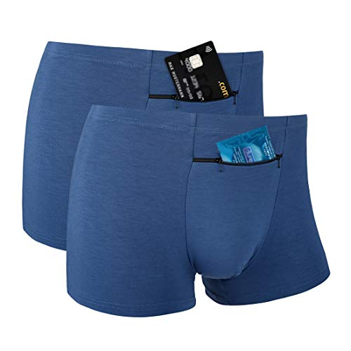 Pocket Underwear for Men with Secret Hidden Front Stash Pocket, Travel Boxer Brief, Medium Size 2 Packs (Blue)