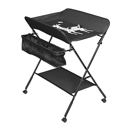 Foldable Baby Changing Table, Infant Care Station with Wheels, Mobile Newborn Massage Table Space-Saving Dresser Diaper Organizer (Black)