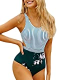 MOLYBELL Women's Lilies Striped Print One Piece Tank Top Swimsuit Cut Out Zip Up Monokini Swimwear (White Large)