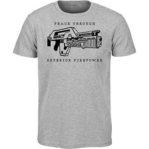 Aliens Movie Peace Through Superior Firepower M41A Pulse Rifle T Shirt Predator (L)