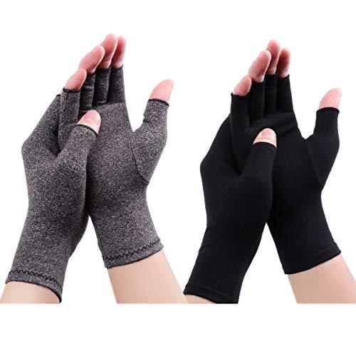 LADES DIRERCT Arthritis Handschuhe - Kompressions-Handschuhe Für Schmerzlinderung Rheumatische Arthritis Fingerlose Handschuhe Damen Herren Handschuhe Osteoarthritis Gelenkschmerzen (Schwarz+Grau, L)