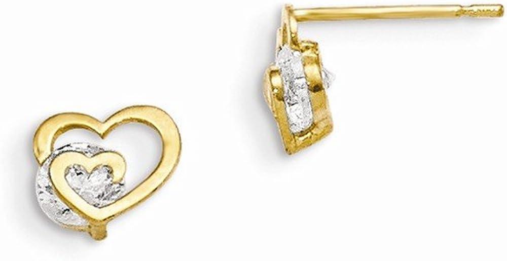 Solid 14k Yellow Gold CZ Cubic Zirconia Children's Heart Post Studs Earrings 6mm