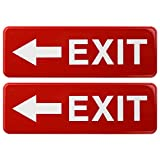 Exit Signs Left Arrow: for Business Door Emergency Sign. Easy to Mount Informative Plastic Sign with Symbols Great for Business Buildings and Establishments 9x3, Pack of 2 (Red)