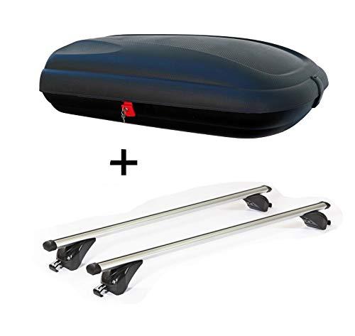 VDP Dachbox VDPBA320 320Ltr carbonlook abschließbar + Dachträger/Relingträger KING1 kompatibel mit Opel/Vauxhall Zafira (B) (5 Türer) 5-12