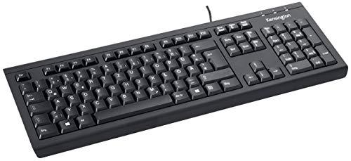 Kensington ValuKeyboard (DE), QWERTZ-Version, mit Spritzschutz, kabelgebunden 1,5m, ideal fürs Home Office, schwarz, 1500109DE