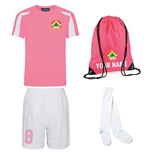 Kinder Mädchen Irland Irland Irland Stil Kit Fußball Trikot Shorts Socken Personalisierte Tasche (Electric Pink/Weiß mit weißen Shorts, 3-4 Jahre/22 Zoll)