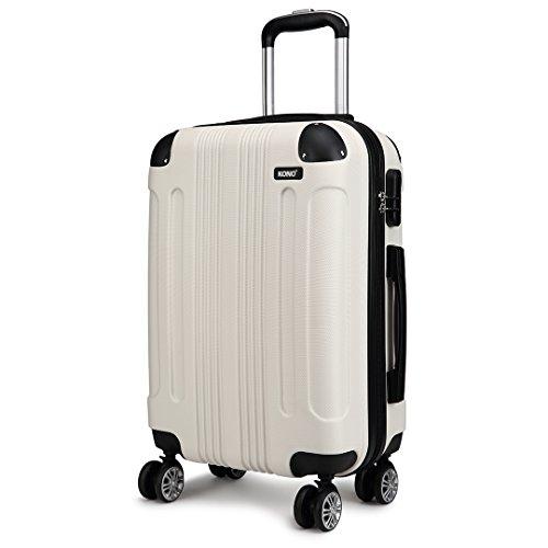 Kono Zwillingsrollen Koffer Reisekoffer Mittelgross Trolley Hartschale ABS Gepäck Spinner Rollenkoffer (Beige, L(65 cm - 65 L))