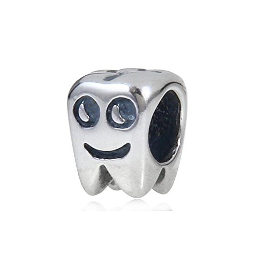 ARTCHARM Smiling Healthy Tooth Charm - Authentic 925 Sterling Silver - Fit European Bracelets