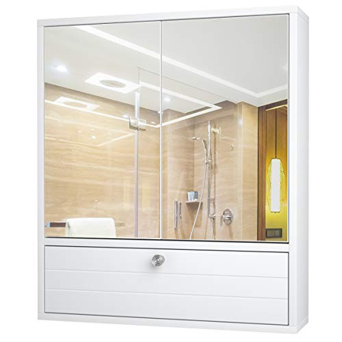 Tangkula Bathroom Cabinet Wall-Mounted Storage Cabinet with Double Mirror Doors Wooden Medicine Cabinet with Adjustable Shelf White