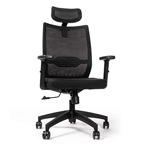 RIGHT TECHNOLOGY Ergonomischer Schreibtischstuhl, Drehstuhl hat Verstellbarer Lordosenstütze, Kopfstütze und Armlehne, Höhenverstellung und Wippfunktion, Rückenschonend, Bürostuhl bis 150kg/330LB
