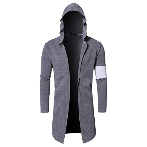 NLZQ Mens Slim Fit Long Sleeve Cardigan Trench Coat Hooded Patchwork Mid-Length Jacket Coat Spring and Autumn New Casual Classic Sweatshirt XL