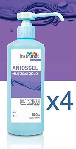 Desinfectante de manos Hidroalcohólico en Gel Aniosgel 500ml, Pack 4 unidades. Para el tratamiento higiénico y la desinfección de manos por fricción sin necesidad de agua.