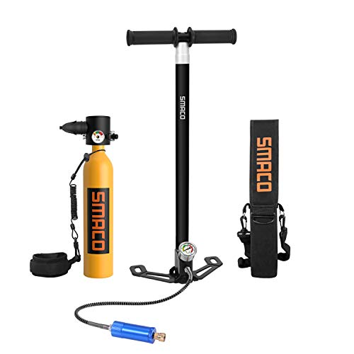 SMACO Scuba Tank Equipment, Portable Mini 0.7L Dive Cylinder, Corrosion Resistant Material Bottle, Constant Pressure Valve, with 2nd Generation Hand Pump, Refillable Pony Bottle for Emergency Backup