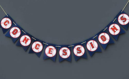 Boston Creative company Baseball Concessions Banner - Baseball Birthday Banner - Baseball Baby Shower - Baseball Happy Birthday Banner-Baseball Pennant Banner