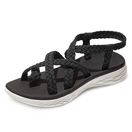 chitobae Comfortable Lightweight Soft Strappy Flat Sandals for Women(8 M US, Black/Black Bottom)