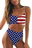 Meyeeka Womens American Flag One Piece Swimsuit Back Cross Colorblock Tummy Control Bathing Suit M
