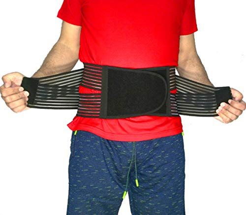 "Best Back Brace Lumbar Support Belt for Lower Back Pain | Men & Women Under Clothes Breathable Fabric Big Size | Relief disc Sciatica Scoliosis Surgery Pain | Dual Stretch Heavy Lift (2XL=43-47"")"