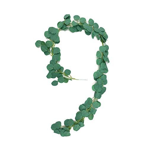 GRASARY Flores artificiales de vid falsas hojas de eucalipto verde guirnalda colgante para plantas 3