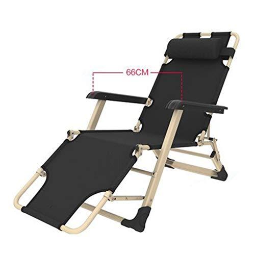 LIYONG Chaise Longue de Repos Pliante Chaise de déjeuner Chambre Simple Chaise de Pause déjeuner Chaise Longue Pliante (Color : Black)