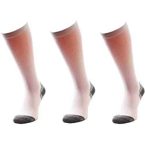 Comodo Lot de 3 paires de chaussettes de course - Pour homme et femme - Chaussures fonctionnelles - Marathon - Trail - Jogging - Course - Course, Mixte, SSC - blanc., 35-38