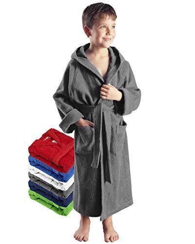 Arus Kinder-Bademantel mit Kapuze für Jungen und Mädchen, 100% Baumwolle Frottee, lang, Grau, 164