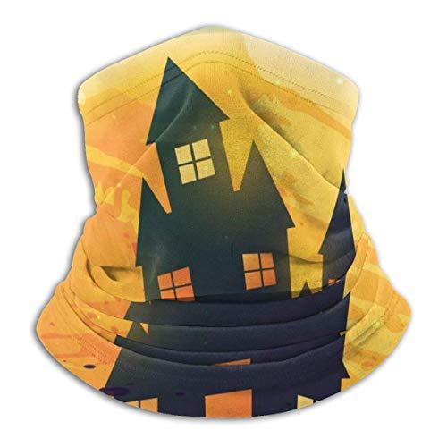 NA Halloween Castle Bat Tree Moon Fleece Neck Warmer Gaiter Seamless Face Mask Outdoor Neck Gaiter Windproof Breathable Bandana Balaclavas