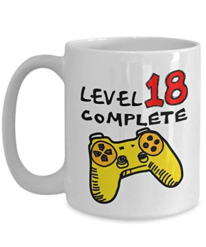 LINNJ Tazas Cafe Funny Coffee Mugs 11 OZ - 18th Birthday for Boys - Level 18 Complete Video Gamer - 18 Years Old Girls Boys, Teen Sister Daughter for Christmas - Ceramic