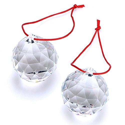 Btsky 2Stück 50mm Klarer Kristall Prismen Ball Sonnenfänger Kristall Kugel Aufhängen Kristallball mit Geschenk-Box für Feng Shui Zuhause Hochzeit Party Dekoration