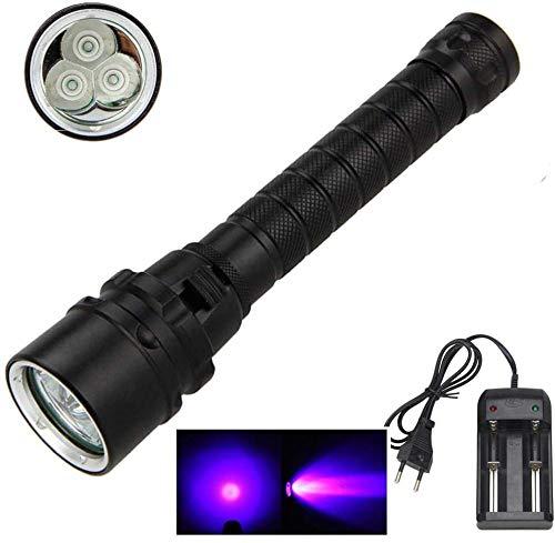 Hellste UV-starke Taschenlampe der Welt Schwarzlicht-Taschenlampe aa kleine LED wiederaufladbare Unterwasser 100m Tauchtaschenlampe 3 * xm-l t6 UV 1200lm Tauchlampe mit stoßfester Taschenlampe