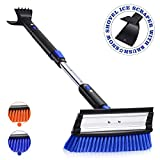 MOVTOTOP 39'' Telescoping Snow Brush and Ice Scraper with Foam Grip, Extendable Snow Scraper with Brush, 270Pivoting Head Snow Removal Brush for Car Truck SUV Windshield (Blue)