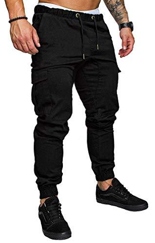 Socluer Homme Pantalons Casual Jeans Sport Jogging Slim Fit Militaire Cargo Montagne Baggy Pants Multi Poches Grande Taille M-4XL, Noir, XL