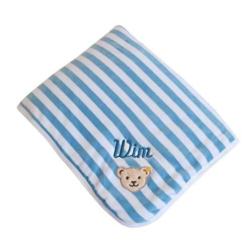 Babydecke mit Ihrem Wunsch Namen bestickt Steiff Collection 2890 hellblau/weiß 90 cm x 60 cm Nicki