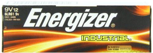 Energizer Industrial 9 Volt Batteries, Alkaline 9v Battery (12 Count)