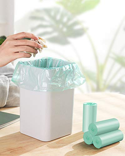 1.2 Gallon Small Trash Bags Garbage Bags, Mini Compostable Strong Bathroom Wastebasket Can Liners trash Bags for Home Office Kitchen fit 5 Liter 5L,1 Gal,Green